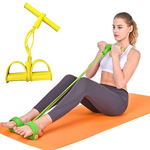 ECYC Banda De Resistencia con Manijas Pedal para Gimnasio Home Fitness Yoga Workout, Entrenamiento Bandas EláSticas para Brazo Cintura Pierna Prensa De Piernas Ejercicio Muscular, Amarillo