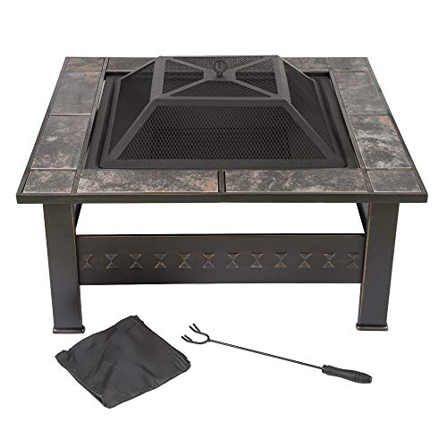 Buy Fire Pit Set, Wood Burning Pit -Includes Screen, Cover and Log Poker- Great for Outdoor and Pati...