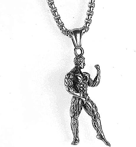 BEISUOSIBYW Co.,Ltd Collar Hombres Collar de Acero Inoxidable Popular Hermosa Exquisita Damas Hombres Fitness Collar Culturismo Músculo Hombres Colgante Collar de Titanio de Acero