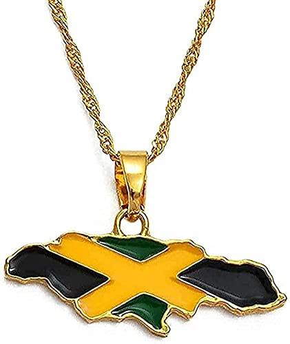 Collana Donna Collana Uomo Collana Mappa della Giamaica e Bandiera Nazionale Collane Orecchini Colore Oro Regali Giamaica Mappe Regalo Ragazze Bambini Collana Regali