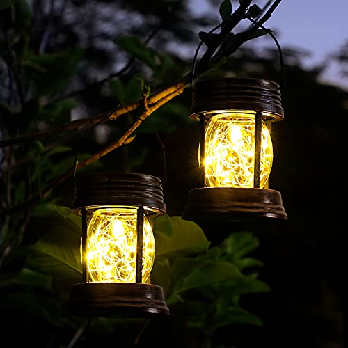 Hanging Solar Lanterns Outdoor, OxyLED 2 Pack LED Garden Lanterns Solar Powered with Handle, Waterproof Decorative Solar Lights with Retro Design for Table Patio Yard Pathway Walkway Christmas