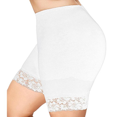 Clearance! Ladies Basic Long Brief,Girls Cotton Leggings Elastic Safety Lace Pants Render Active Under Shorts Gym Workout Waistband Casual Sport Short Pants Summer Clothes (UK 16, White)