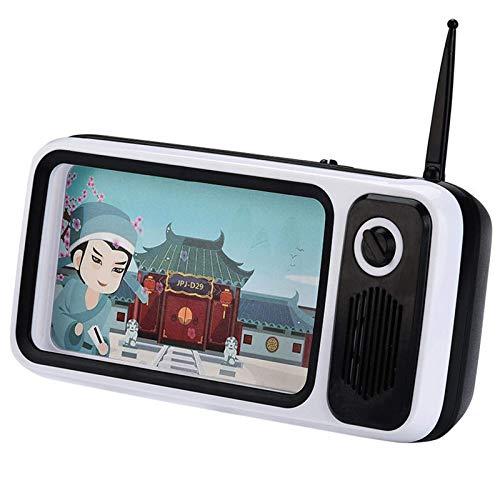 Lupa de pantalla móvil Mini Retro Radio TV en forma de altavoz Bluetooth inalámbrico soporte para teléfono móvil 2000mA para ver vídeos de películas (tamaño: 180 x 60 x 880 mm; color: blanco)