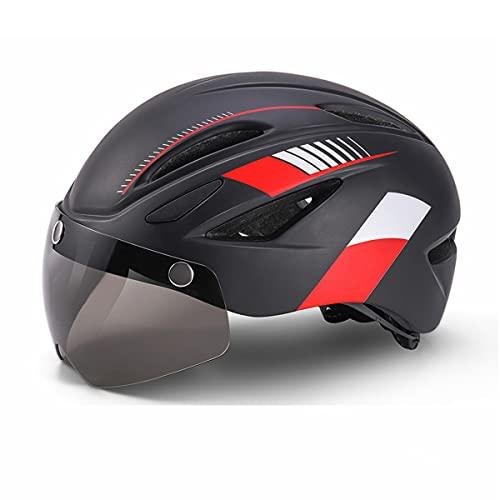 Casco Bicicleta Adulto Cascos de Ciclismo para Adultos con Gafas Desmontables y Luz Trasera LED Recargable Casco Bici Ligero Unisex Protección de Seguridad para Montar Carretera (Negro&Rojo, 57-61CM)
