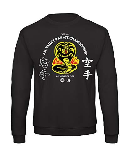 Bughyprint Felpa Maglia Girocollo Cobra Kai Karate Kid Versione Nera, XXL