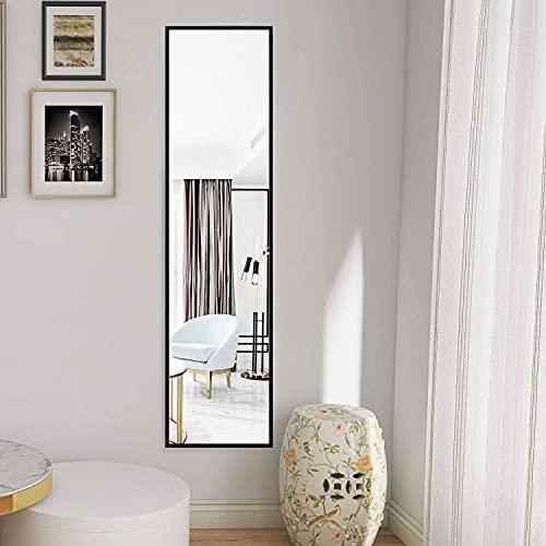 AUFHELLEN Spiegel mit Schwarz Metallrahmen 120x30cm Groß Wandspiegel HD Ganzkörperspiegel mit Haken für Flur, Tür, Wohn-, Schlaf- oder Ankleidezimmer