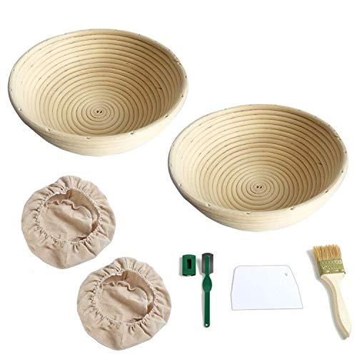 Queta Set di 2 Cestini da Lievitazione, Include 2 Fodere in Tessuto, Spazzola, Manico in Legno + Raschietto Bianco + Raschietto Verde Cestino da Lievitazione per Cuocere il Pane