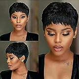 VRVOGUE Short Human Hair Pixie Wigs Pixie Cut Short Black Wavy Wigs Layered Short Human Hair Wigs for Black Women (Pixie Cut Wigs, 1B#)