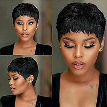 VRVOGUE Short Human Hair Pixie Wigs Pixie Cut Short Black Wavy Wigs Layered Short Human Hair Wigs for Black Women  Pixie Cut Wigs 1B#