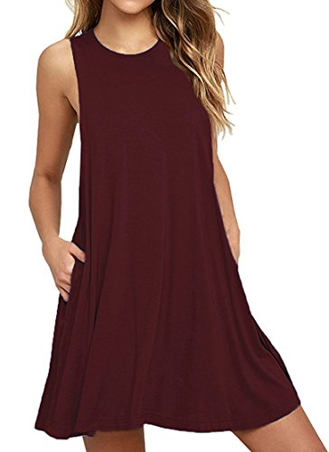 HAOMEILI Women's Sleeveless Pockets Casual Swing T-Shirt Summer Dresses M Wine Red