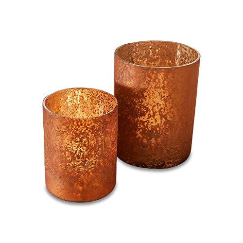 Loberon Windlicht 2er Set Moltar, Glas, orange