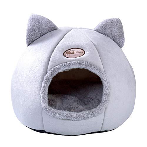 Jishu Saco de dormir súper suave para gatos, saco de dormir para perros, casa de la cueva del perro, acogedora perrera redonda estereoscópica, para mascotas, 3 tamaños, se puede lavar a máquina