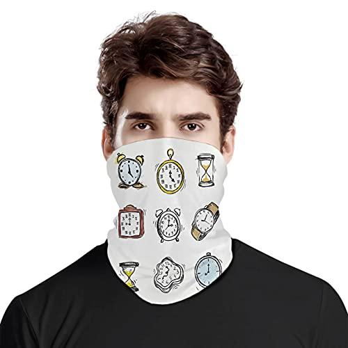 FULIYA Gran cara cubierta bufanda protección cuello, una variedad de relojes vintage e ilustración dibujada a mano, variedad de bufanda de cabeza unisex