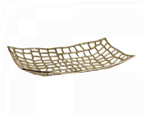 Colmore Schale Teller Gold Tisch Deko Modern Gitter Design Rechteckig 50 cm