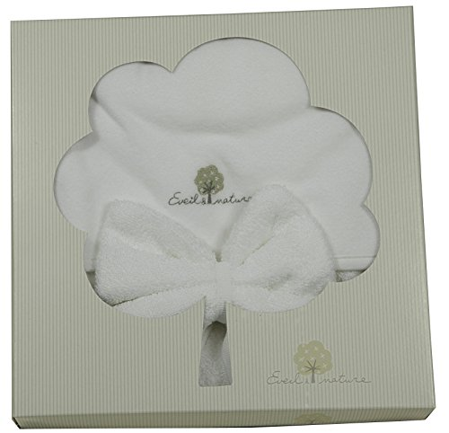 Eveil et Nature - Juego de toalla con capucha y manopla de baño color blanco