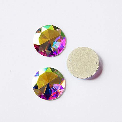 2003TH ronde spiegel klein pakje Crystal AB naaispiegels Stenen en kristallen Glas Naai de kristalsteentjes voor jurken, AB, 20 mm 9 stuks