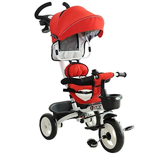 HOMCOM 4-in-1 Kinderdreirad, Kinder Fahrrad mit Sicherheitsgurt und Sonnendach, Dreirad, Kinderauto, Kinderwagen, Buggy, Aluminium, Metall, Kunststoff, Rot, 118 x 53 x 105 cm