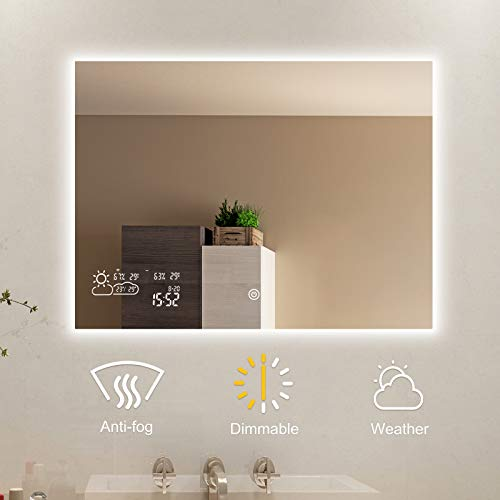 BYECOLD Horizontal Vanity Touch Switch Bathroom Mirror Weather Forecast, LED Illuminate Light Demist/Defogging Makeup Wall Mirror with Calendar Time Date Temperature Humidity Display-31.5''x23.6''