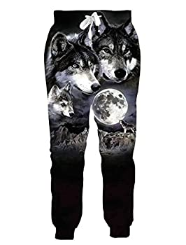 Loveternal Cool Wolves Joggers for Men Teens Full Moon Pants Weird Tapered Leg Workout Yoga Pants Sweatpants 90 S Clothing for Women L