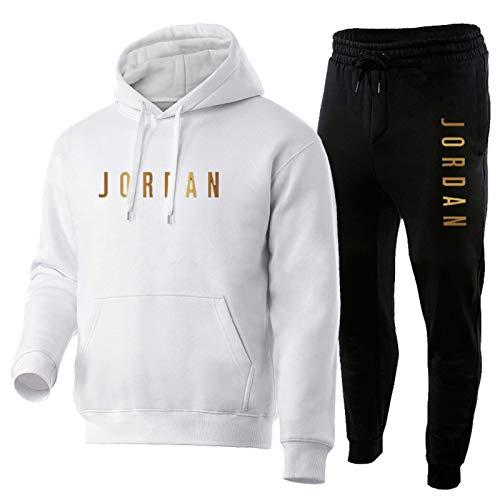 Tuta sportiva da uomo, ragazzo Jordan, felpa con cappuccio e pantaloni Comfy 2 pezzi bianco e nero. L