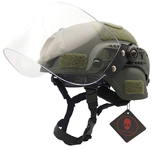 Airsoft Tactical MICH 2000 Militär Paintball Army Kampfhelm mit klarem Visier Gesichtsschutz Schiebebrille und Seitenschiene NVG Mount OD Grün