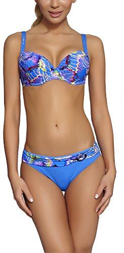 Feba Figurformender Damen Push Up Bikini D1N32L1 (Muster-08DK, Cup 75 E/Unterteil 38)