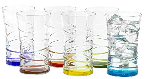 Dancing Circles Clear Tumbler Multi Colored Base Drinking Glass for Water Juice Beer Whiskey and Cocktails 11 Ounce  Set of 6