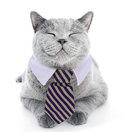 DAUERHAFT Blaue Katze gestreifte Fliege Haustierzubehör Stoff zum Tragen auf der Party(Blue, Number 8)