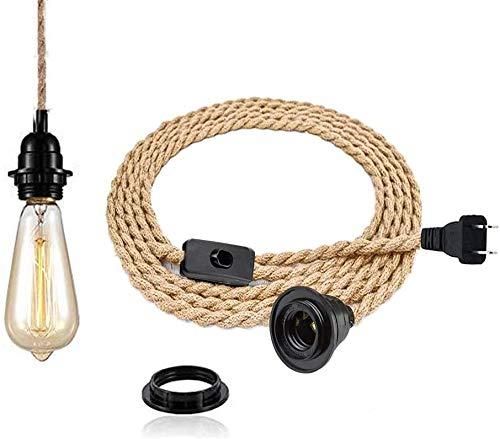 Pendelleuchte Kit mit Schalter - Vintage Lampenkabel mit 4.5 Meter gedrehten Hanfseil E27 Lampenfassung Plug in DIY Hängende Leuchte für Farmhouse Home Loft - Ohne Glühbirne