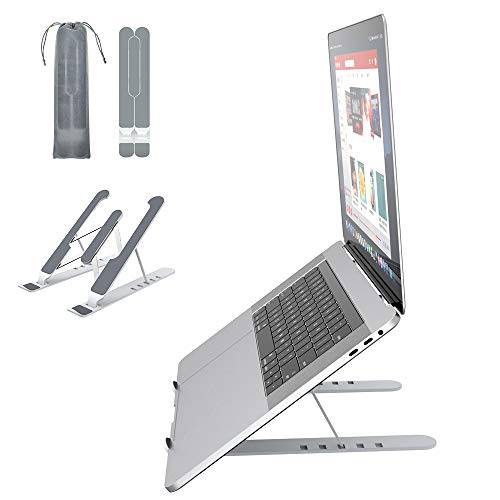 Laptop Stand,VersionTECH,Foldable Portable Desktop Laptop Holder,ABS+silicone+built-in metal 6-Levels Angles Adjustable Height Notebook Mount,Vertical Stable PC Riser for All Laptops&Tablets
