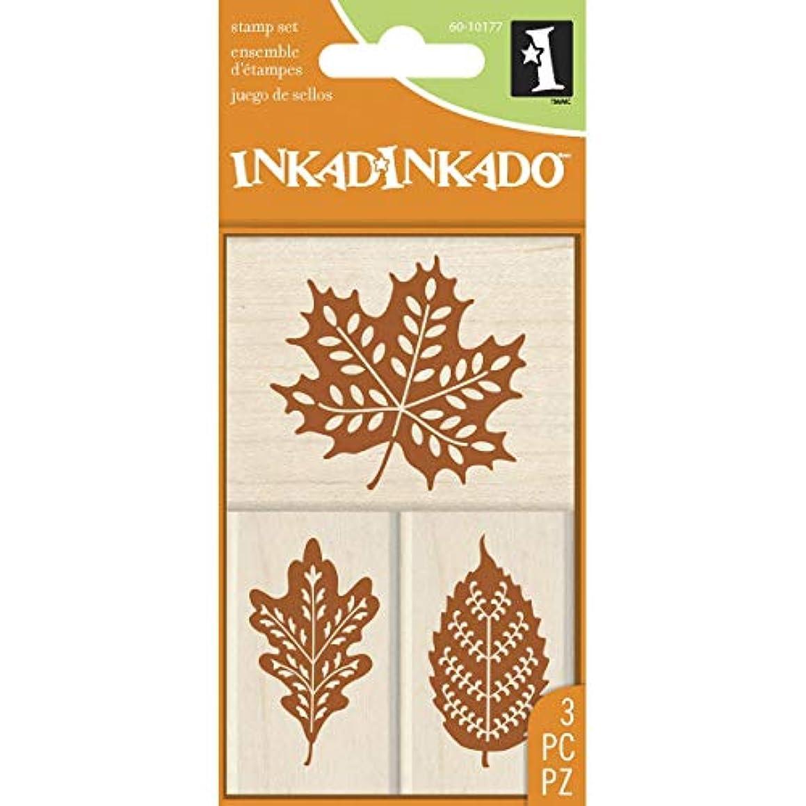 Inkadinkado 60-10177 Fall Leaves Wood Stamp Set, Black