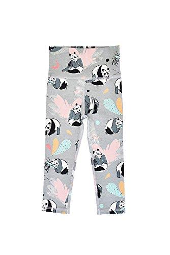 Bambinizon Hebe leggings met hoge taille, biologisch katoen, voor jongens of meisjes, broek. 3 kleuren: grijs (pandas), beige (olifanten) of groen (neushoorn). Organisch katoen, Fair Trade
