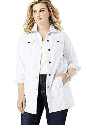 Roamans Women's Plus Size Long Denim Jacket - 18 W, White from Roamans