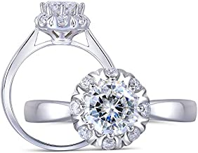 DOVEGGS Solid 14K White Gold 1ct Center 6X6mm FGH Color Round Octagon Brilliant Cut Halo Moissanite Engagement Ring Solitare with Accents for Women