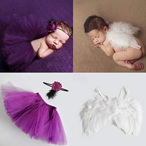 Newborn Photography Props Girl Outfit Infant Baby Angel Wings + Purple Tutu Skirt Feather Floral Headband- Newborn Baby Girl Clothes for Photo Shoots Prop Christmas Cupid Costume