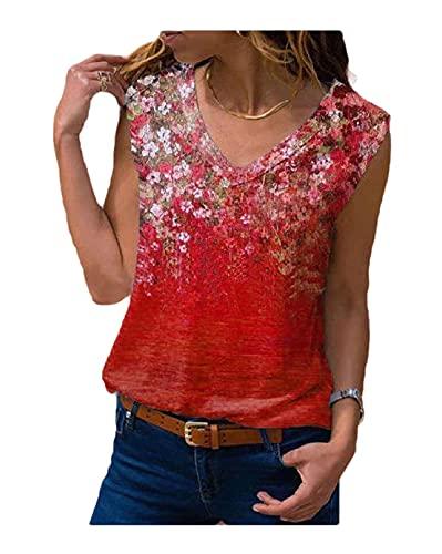 Blusa sin mangas de verano con cuello en V para mujer