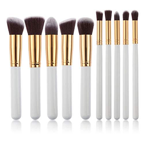 Wonque Maquillage Brush Set Professionnel Cosmétique Kit Pinceau pour Fond de Teint Poudre Lèvre Eyeliner Lot de 10, Blanc/doré, 15-18cm
