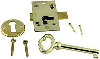 Small Brass Plated Flush Mount Lock Set for Grandfather Clock, Cabinet Door or Dresser Drawer | L-1B