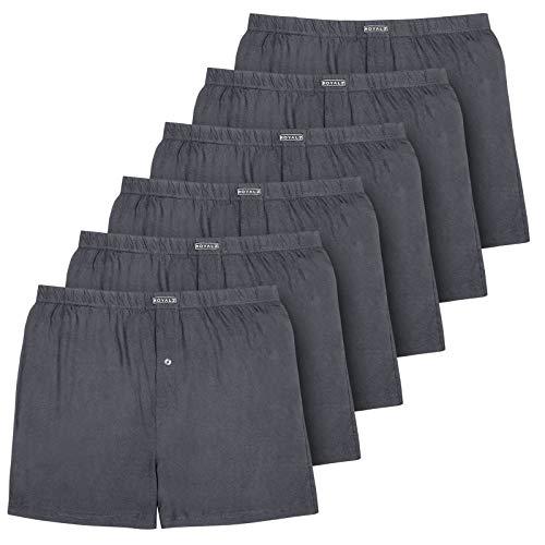 ROYALZ 6er Pack Boxershorts für Herren Baumwolle American hohe Taille leichte Unterhosen Men Weit Hoch Weich 6 Set Männer Unterwäsche, Farbe:Dunkelgrau, Größe:L