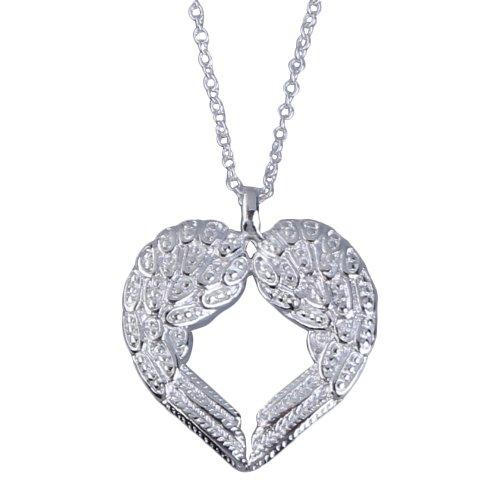 De ángel y diamantes de diseño de diana de aviación en forma de corazón de brillantes con forma de Vktech para lámpara de techo de plata de ley y de plata de ley de cadena de aleación de collar con colgante en forma con una superficie de