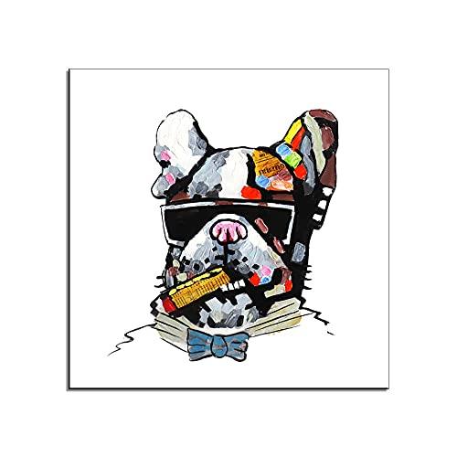 Divertido Perro Encantador Cigarro Animal Lienzo Decoración De La Pared Arte Pintura Animal Moderno 100% Pintado A Mano Pintura Al Óleo Acrílico Cuadrado Cuadro Grande Para Niños Dormitorio Sala D