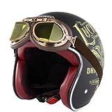 somanオートバイ電気自動車ヘルメットハーレーレトロ男と女ハーフヘルメット安全ヘルメットハレ個性DOT認証