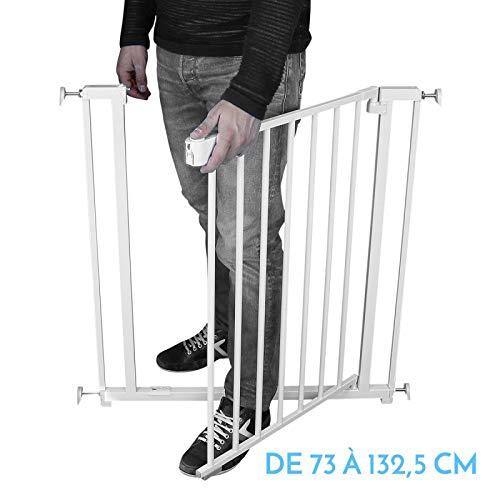 Monsieur Bébé  Barrière de sécurité extensible - 7 tailles de 73 à 132,5 cm - Norme NF EN1930