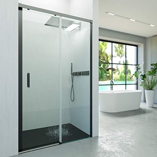VAROBATH Mampara de ducha frontal BASIC Negro 1 fijo -1 puerta corredera. Sin perfil inferior. Con tratamiento ANTICAL....