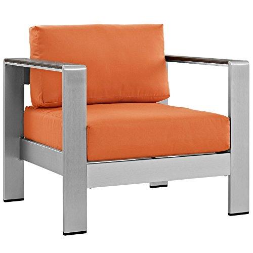 Modway Shore Aluminum Outdoor Patio Armchair in Silver Orange