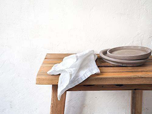 Weiß Leinenservietten. Stonewashed Leinen. Set von zwei Leinenservietten.