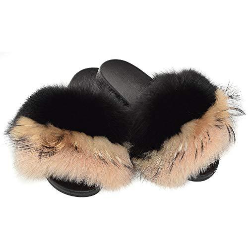Fell Latschen Pelz Pantoffeln mit schwarz-beige Fuchs Echtfell Echtpelz Schlappen Sandalen mit Pelz Fuchsfell Slipper Slides Schuhe Pantoletten (40 EU)