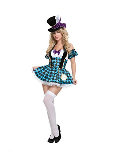 Starline Sexy Womens Mad Hatter Costume Set,Multi-Colored,One Size - Blue -...