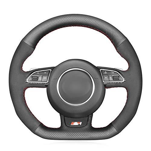 Preisvergleich Produktbild SLONGK Für Audi S1 8X S3 8V Sportback S4 B8 Avant S5 8T S6 C7 S7 G8 RS Q3 8U SQ5 8R,  Schwarz Original Leder Autolenkradabdeckung