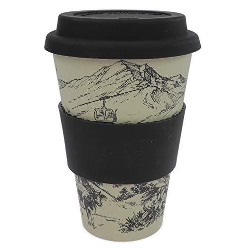 ebos Coffee-to-Go Becher aus Bambus – melaminfrei | Wiederverwendbarer Trink-Becher aus natürlichen Materialien | spülmaschinen- und mikrowellengeeignet | Alpenglück